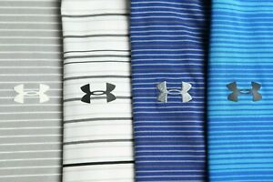 Under Armour Men's lot of 4 blue, gray and white HeatGear golf polo shirts 2XL $79.99