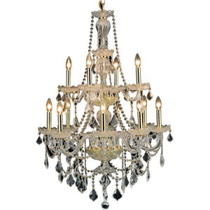 CRYSTAL CHANDELIER DINING LIVING ROOM FOYER QUALITY GOLD FIXTURE 12 LIGHT 41