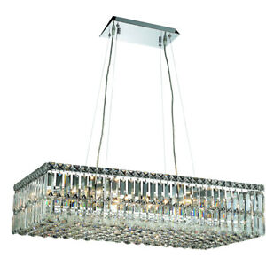 ASFOUR CRYSTAL CHANDELIER CHROME FOYER DINING ROOM CEILING FIXTURE 16 LIGHT 32