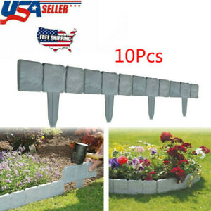 10x Home Garden Border Edging Plastic Fence Lawn Yard Cobbled Stone Effect Hot