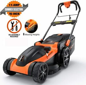 TACKLIFE Electric Lawn Mower 16 Inch 11Amp Corded Lawn Mower 6 Mowing Heights $134.98