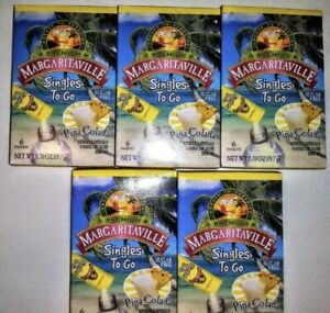 MARGARITAVILLE PINA COLADA SINGLES TO GO DRINK MIX SUGAR FREE 5 BOXES 30 PACKETS