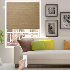 Natural Woven Bamboo Color Motorized Roller Electric Roller Blinds Sand