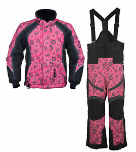 Girls Youth Mossi Snowmobile Jacket amp; Bibs Combo Pink w Circles