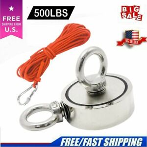 Fishing Magnet Kit Upto 500 Lbs Pull Force Strong Neodymium Rope Carabiner $14.65