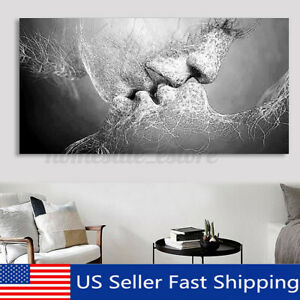 Black amp; White Love Kiss Abstract Canvas Print Painting Wall Art Picture Decor