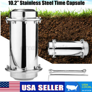 USA 10.2'' Stainless Steel Time Capsule Waterproof Lock Container Storage Future