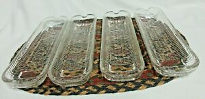 Set Of 4 Vintage Clear Glass Corn On The Cob Holder Dishes
