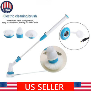 3 Heads Electric Cordless Spin Scrubber Bathroom Wall Floor Tiles Clean Brush