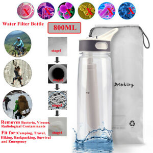 Filter Water Bottle with Straw Purifier 4-Stage Portable Emergency for Backpack