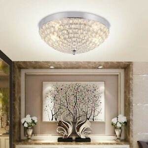Modern Mini Chandelier Crystal Pendant Light Flush Mount Small Ceiling Lighting