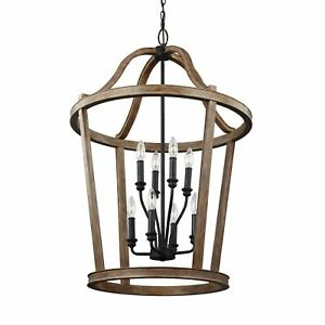 Feiss Lorenz 8 Lights Weathered Oak Wood Chandelier Weathered