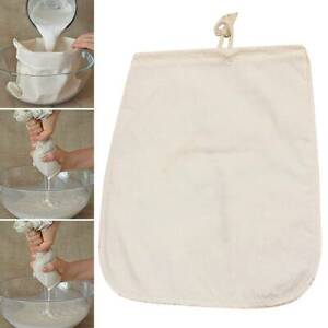 Reusable Cheesecloth Nut Milk Bag Coffee Drawstring Fine Mesh Strainer Bags US