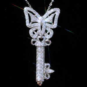 Fashion Key 925 Silver Necklace Pendants White Sapphire Women Jewelry Gift