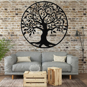 US 99cm Metal Hanging Black Tree of Life Wall Art Round Sculpture Home Decor $88.68