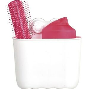 Evideco Oval Bath Shower Caddy Basket 2 Screw-top Suction White