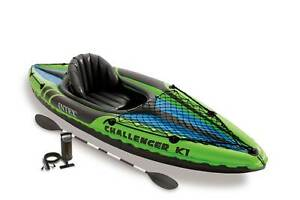 Intex Challenger K1 Kayak 1 Person Inflatable Kayak Set with Oars and Pump