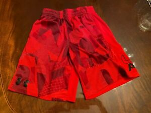 Under Armour Boys' Athletic Red Shorts Youth Small YSM JP CH Loose Heat Gear EUC $11.99
