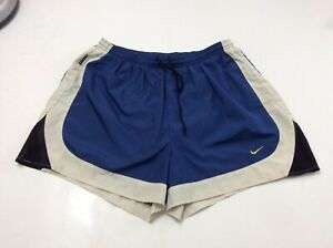 """Vintage Nike Mens Running Shorts Athletic Fitness Lined Blue Tan Sz XL 4"""" Inseam $8.90"""
