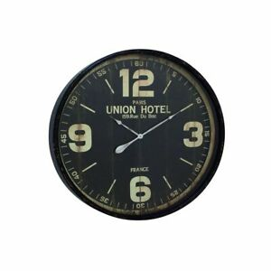 Porch & Den Jared 35-inch Diameter Metal Wall Clock Black