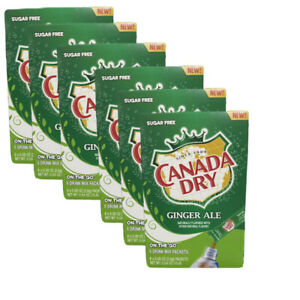 6 Boxes Of CANADA DRY GINGER ALE SINGLE TO GO DRINK MIX SUGAR FREE