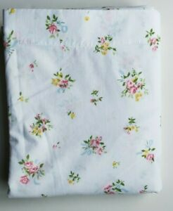 Vintage Montgomery Ward Full Double Flat Sheet Muslin Pink Yellow Floral