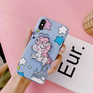 Unicorn Bling Cartoon Cute Pink Girl Star Kickstand Holder Case Cover for iPhone $6.99