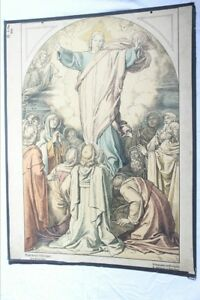Wall Chart Schulwandkarte Lithography Jesus Ascension H.Commans 1908 $48.70
