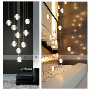 Crystal Glass Ball Lamp Modern Duplex Staircase Round Pendant Home Lights