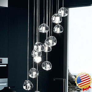 Cluster Pendant LED Modern Stair Ceiling Light Cherry Crystal ball Villa Home