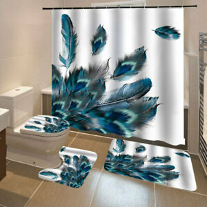 4pcs set Bathroom Shower Curtains Toilet Cover Mat Peacocks Feathers Printing