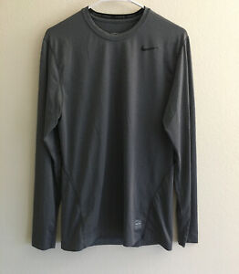 Nike Pro Dri Fit Fitted Long Sleeve Gray Athletic Shirt Men's Size Medium $18.00