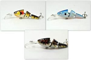 Pack of 3 Akuna Wobblin Goblin 3.5quot; Jointed Diving Bass Trout Fishing Lures