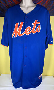 Men#x27;s Majestic Cool Base MLB New Mets Stitched Baseball Jersey Blue Size 50