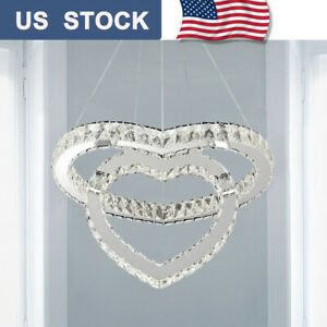 Crystal Chandelier Modern 2-Colors LED Heart Ceiling Pendant Lamp Living Room US