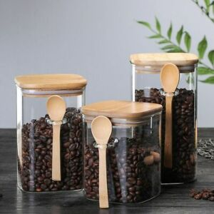 Glass And Bamboo Food Container Set Of 3 Coffee Beans Storage Kitchen Organizer