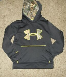 Under Armour Storm Boy's Black Camo Print Large Logo Hoodie Size Youth S $8.00
