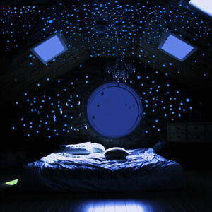606Pcs Luminous Blue Glow Dark Night Star Wall Sticker Round Dot Kids Room Decor