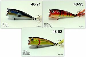 Pack of 3 Akuna Top Dog 2.4quot; Topwater Popper Bass Trout Fishing Lures