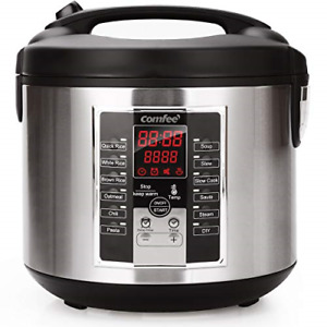 COMFEE' Rice Cooker, Slow Cooker, Steamer, Stewpot, Sauté All in One 12 Digital