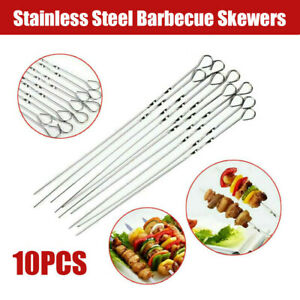 10 Pack Stainless Steel Barbecue Metal Skewers Flat Needle Grill Kebab Sticks US