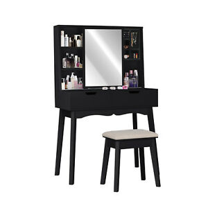 Vanity Makeup Dressing Table Set w Stool 2 Draweramp;Mirror Jewelry Wood Desk