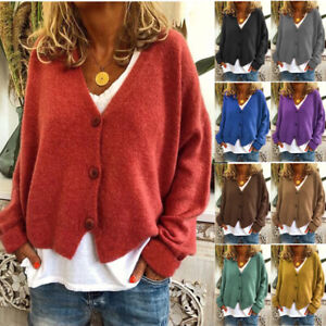 Womens Autumn Casual Loose Sweater Knitted Cardigan Long Sleeve Ladies Clothes $19.96