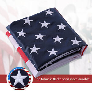 5X8 ft American USA Flag EMBROIDERED Stars Sewn Stripes Brass Grommets US SELLER