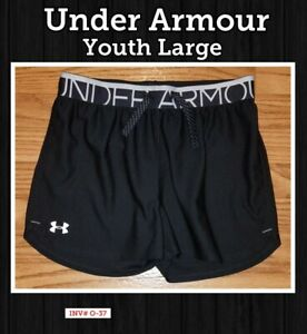 Under Armour Youth heat gear Large Black & White Athletic Loose Fit Girls Shorts $10.50