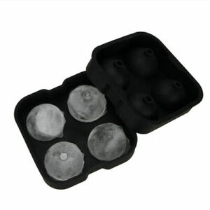 4 Large Sphere Round Ice Balls Maker Tray Molds Cube Whiskey Cocktails Bar Club