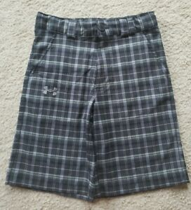 YOUTH BOYS UNDER ARMOUR LOOSE BLACK GRAY PLAID CASUAL GOLF SHORTS SZ YSM *NICE* $7.80