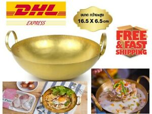 Thai kitchenware Brass Wok size 16.5x6.5 cm. Made Food Dessert Menu Must Have