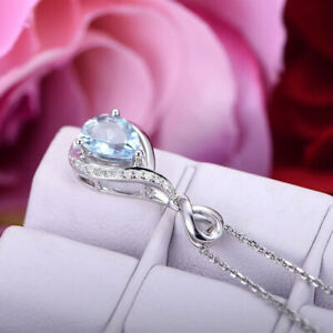 Gorgeous 925 Silver Necklace Pendants Aquamarine Women Jewelry Free Shipping