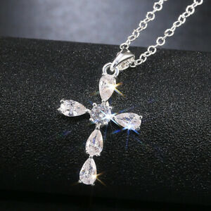 Elegant Cross 925 Silver Necklace Pendants White Sapphire Women Jewelry